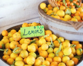 "Fruit Photography Fresh Lemons Art Print Yellow Kitchen Wall Art Rustic Farmhouse Print ""Lemons"""