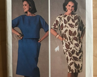 Simplicity 6944 - 1980s Easy to Sew One and Two Piece Dress with Patch Pockets - Size 12 14 16