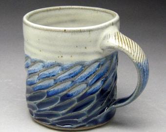 Blue & White Coffee Mug- Carved Stoneware - Made To Order