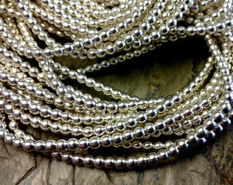 Round Brass Bead, 4mm, African Brass Trade Beads, Silver Plated, 25 Inch, Priced per Strand