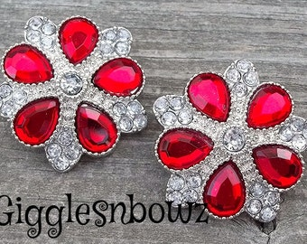 Rhinestone Buttons- NEW Set of TWO LiMiTED EDiTiON FaNCY XL Buttons- Red and CLeAR 30mm