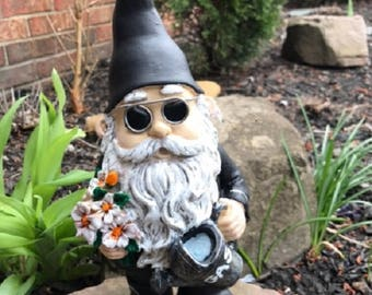 Biker Dude Garden Gnomes; 11 Inch High Motorcycle Dude W/ Dark Sunglasses,  Wallet Chain U0026 Earring; Yard Ornament, Outdoor Statue, Lawn Decor