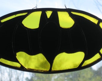 Stained Glass Bat Man Emblem/Handcrafted/Made in USA