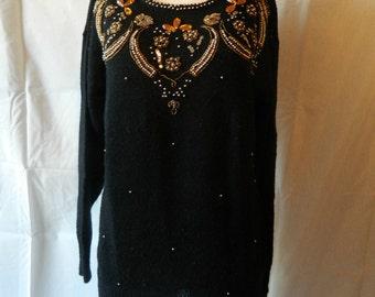 50% off Vintage 1980's Embellished stones Sweater Tunic Longer Length Size Medium