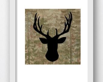 Deer Camoflauge Print Digital Prints, Deer Head Prints, Deer Head Artwork, Deer Art Print, Deer Silhouette, Deer Artwork, Deer Antler Prints