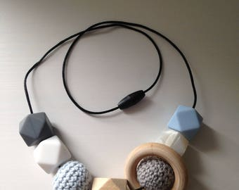 Wooden Crochet Silicone Feeding, Babywearing and Teething Necklace- Louise, Baby Blue