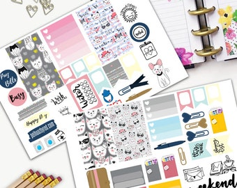 Cat Gang Weekly Planner Sticker Set, CLASSIC Happy Planner Stickers, Weekly Set, Stickers, Printed, Cut, Crazy Cat Lady, Cats, Friends, Love