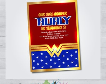 Wonder Woman - Wonder Woman Invitation - Wonder Woman Party - Wonder Woman birthday - Wonder Woman Invite - Wonder Woman Occasion