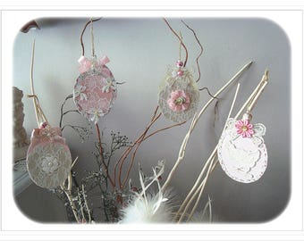 Set of 4 Easter egg paper mache, Shabby Chic Style.