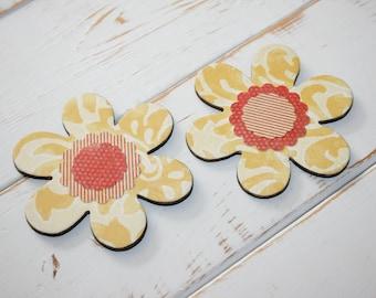 Yellow Flower magnets, Decoupage magnets, Fridge magnets, Flower decor, Nature lover gift