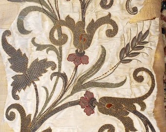 18th Century Italian Embroidery Gold Metallic Applique Embroidered Fowers Antique Textile