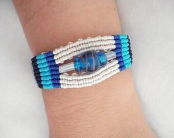 Macrame bracelet, Blue stripe bead bracelet, Boho bracelet, Gypsy jewelry, Ethnic bracelet, Summer trends, Geometric jewelry, Gift for her.