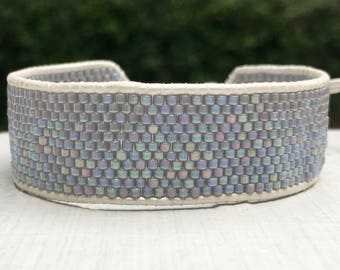 Gray Seed Bead Leather Cuff Bracelet - Bead Cuff - Bead Bracelet - Chan Luu Style - White Leather Bracelet - Peyote Stitch - Mother's Day