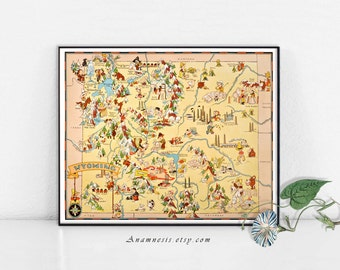 WYOMING MAP - Instant Digital Download - printable vintage state map for framing, totes, cards, mugs, tags - fun pictorial map wall decor