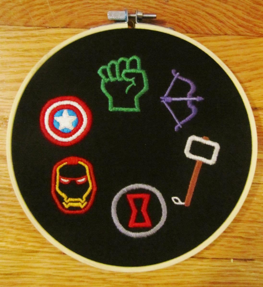 Embroidery Hoop Art Avengers Symbols Comic Book Logo Iron