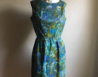 EL Vintage Wedding 60s Floral Wiggle Dress