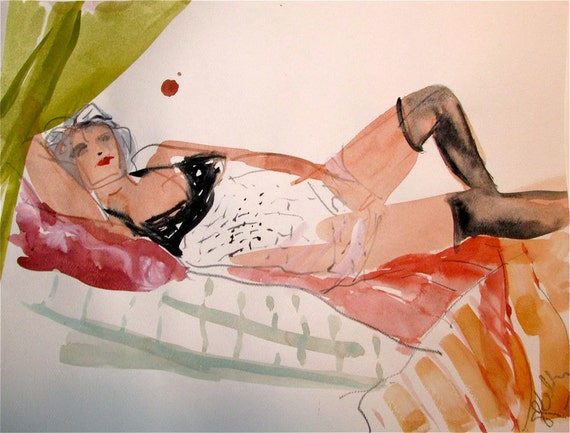 Boudoir Session 6.6 original watercolor nude painting by Gretchen Kelly