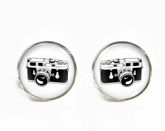 Camera small post stud earrings Stainless steel hypoallergenic 12mm Gifts for her
