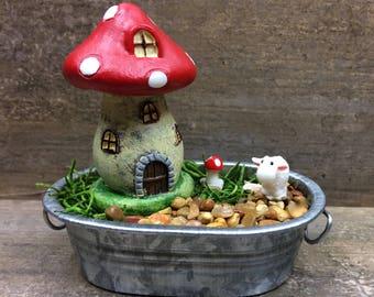 DIY Fairy Garden Mini Garden, Mushroom House and Sheep, Kids craft, Fairy Garden Kit, Fairy Garden Party Gift, Garden Party Favor.