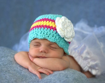 Newborn Baby Girl Hat Newborn Girl Hat Newborn Hat Girl Aqua Blue Baby Hat Baby Girl Clothes Baby Girl Gift Hospital Hat Baby Girl Clothes