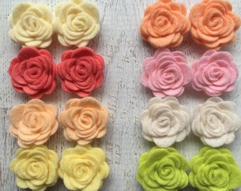 Wool Felt Fabric Flowers - Mini Light & Airy Collection Posies - The Original Wool Felt Posies