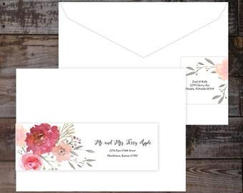 Address Label, Wrap Around Address Label, Address Labels, Floral Address  Labels, Wedding
