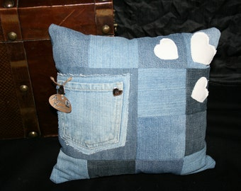 Jeans cushions including filling, with Pocket and hearts, 30x30cm