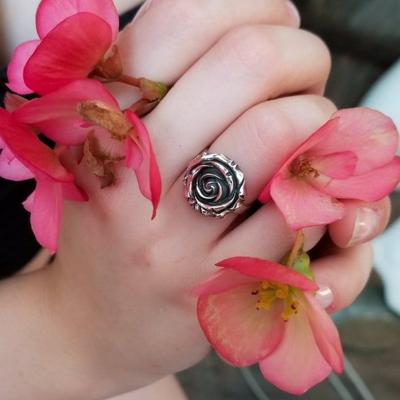 Statement Silver Rose Ring, Floral, Flower Nature Jewelry, Romantic, Beauty and the Beast, Gothic Lolita, Gift for Her, Mothers Day, Garden