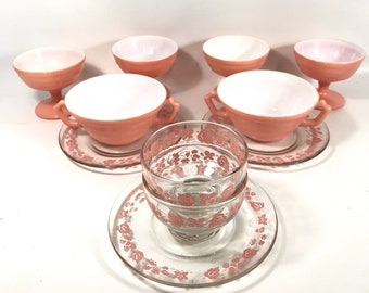 hazel atlas, compote,salmon, pink,mid century, 50s pink,dishes,