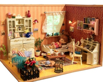 Diorama bedroom dollhouse roombox 1/12 - 1/6 bjd doll realpuki pukifee lati blythe tiny