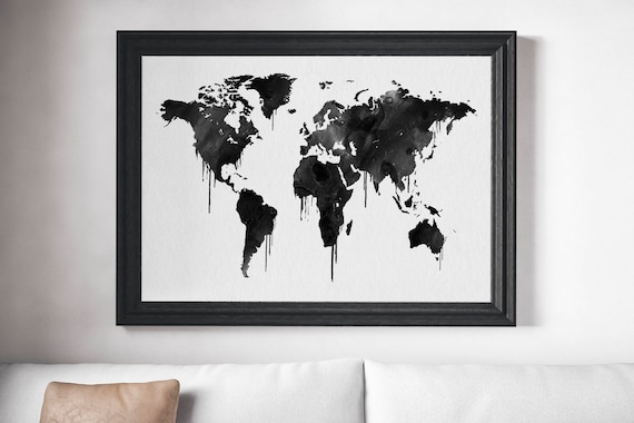 Black and white world map art print watercolor dripping world black and white world map art print watercolor dripping world map poster travel map dark watercolor map minimal art world map decor gumiabroncs Choice Image