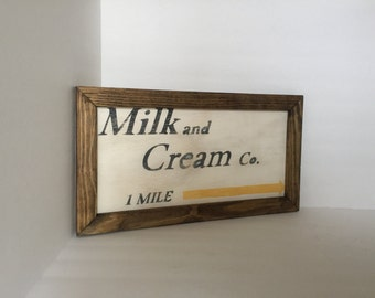 Milk and Cream Vintage Sign