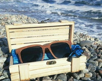 Black Walnut Wooden Polarized Sunglasses Vintage UV Protection eyewear