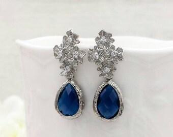 Silver Flower Dark Sapphire Blue Teardrop Earrings, Cubic Zirconia Blossom Post Back Earrings, Wedding Bridal Bridesmaid Mom Gift for Her
