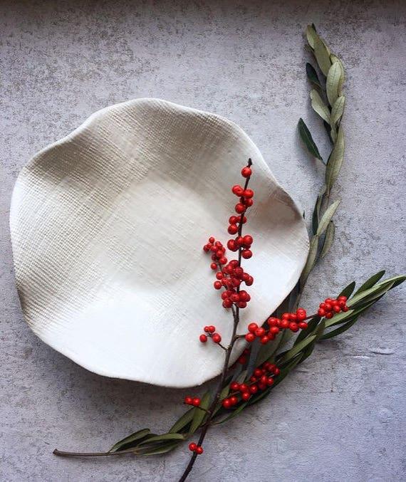 Ruffled Winter White Porcelain Bowl