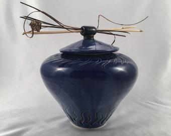 Dark blue urn