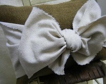 Burlap Pillow with Drop Cloth Cotton Bow