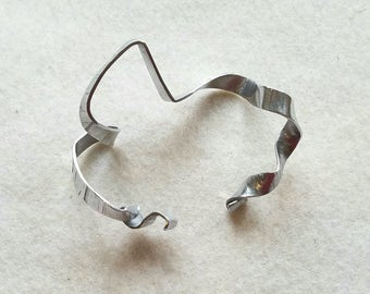 Silver aluminum sculptural ribbon bracelet, edgy jewelry, minimalist bracelet, modern, statement piece