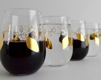 Metallic Gold Retro Christmas Lights Stemless Wine Glasses - Set of 4 Gold Christmas Glasses