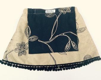 Apron Skirt with PomPom Fringing - Size 4