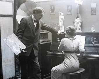 vintage photo Print French Artist and Model at Piano 1900