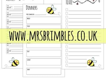 BUMBLE BEE - Personal Filofax Inserts
