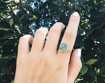 Round turquoise sterling silver ring