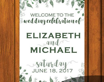 Greenery Wedding Welcome Sign / Welcome Sign / Digital File / Print At Home / Wedding Signs / 18x24