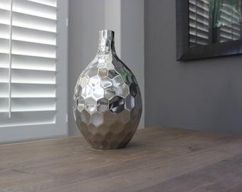 Handcrafted Honeycomb Nickel Vase