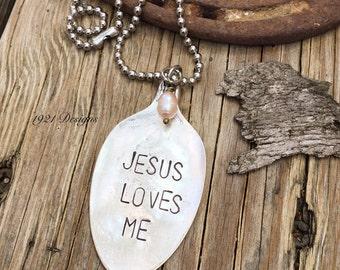 Jesus loves me - hand stamped jewelry - vintage flatware jewelry