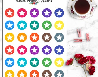 Round Stars Icons Planner Stickers (I-042)