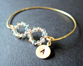 Gold Infinity Bangle, brass customizable bangle, personalized bangle, stackable bangle,  infinity bracelet, gift, initials