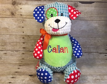 Personalized Baby Cubbie Harlequin Dog Cubbie Baby Embroidered puppy Stuffed Animal Personalized toy Baptism Gift Birth Announcement