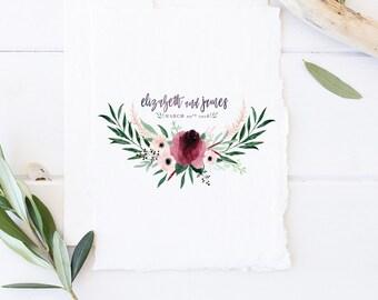 Wedding Logo | Semi - Custom Wedding Logo, Single Letter Monogram - Anemone Wreath